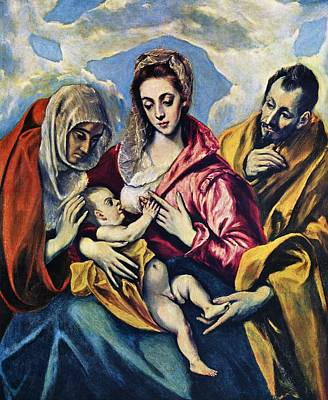 Jesus Painting - Holy Family With St Anne by Celestial Images