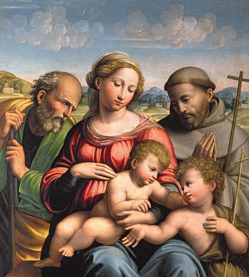 Baptist Painting - Holy Family With The Infant St. John The Baptist And St. Francis by Innocenzo da Imola