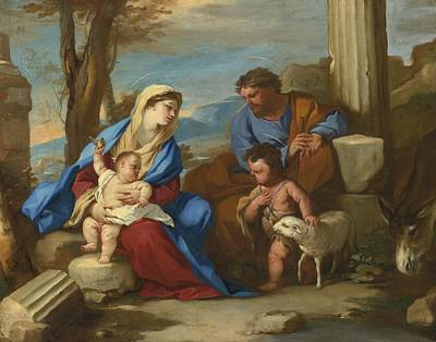 Baptist Painting - Holy Family With The Young Saint John The Baptist by Celestial Images