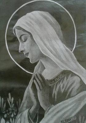 Jesus Christ Icon Drawing - Holy Mother by Subhash Mathew