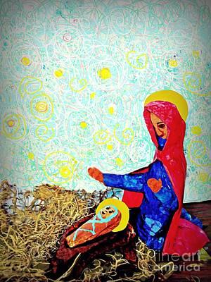 Manger Mixed Media - Holy Night by Sarah Loft
