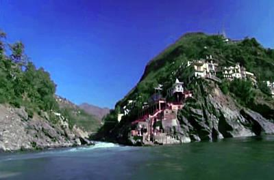 Mixed Media - Holy River Ganga At Dev Prayag On Foot Hills Of Himalayan Mountain Range by Navin Joshi