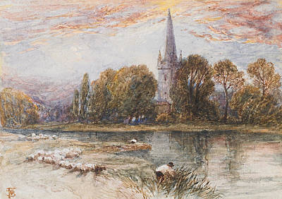 English Gouache Painting - Holy Trinity Church On The Banks If The River Avon Stratford Upon Avon by Myles Birket Foster