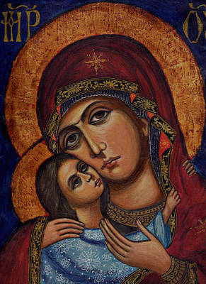 Holy Virgin With The Child Art Print by Ketti Peeva