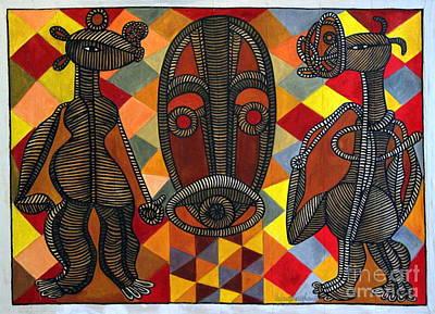 Contemporary Ethnic Artist Painting - Homage To Christian Lattier Ivorian Sculptor by Ephrem Kouakou