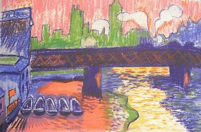 Pastel - Homage To' Derain' Westminster Bridge 1906 by Michelle Deyna-Hayward