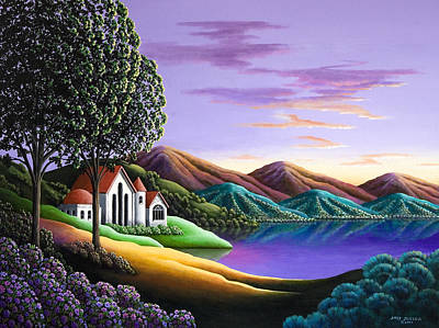 Reflecting Sunset Painting - Home  by Andy Russell