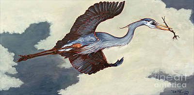 Soaring Painting - Home Bound Heron by Eve McCauley
