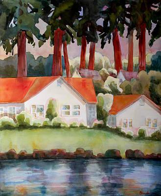 Blendastudio Painting - Home By The Lake by Blenda Studio