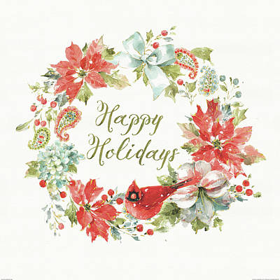Happy Holidays Painting - Home For The Holidays Wreath Happy by Daphne Brissonnet