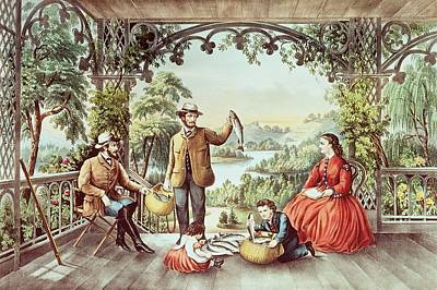 Nineteenth Century Drawing - Home From The Brook The Lucky Fisherman by Currier and Ives