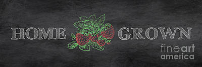 Strawberries Digital Art - Home Grown On Blackboard by Jean Plout