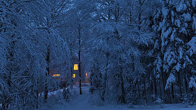 Photograph - Home In Snowy Woods Panorama by Alan L Graham