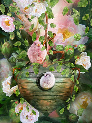 Baby Bird Mixed Media - Home In The Roses by Carol Cavalaris