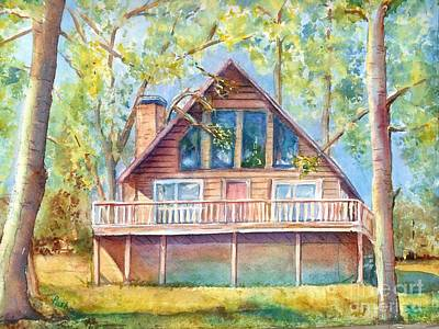 Log Cabins Painting - Home In The Woods by Patricia Pushaw