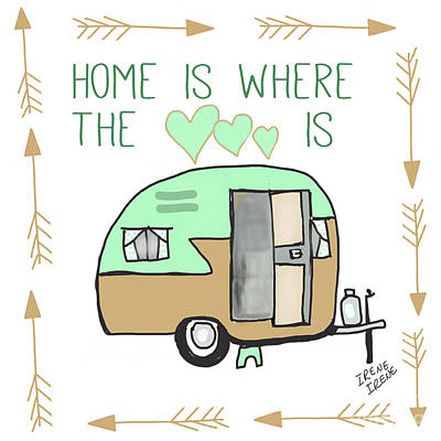Home Is Where The Heart Is Campling Trailer Vintage Art Print by Irene Irene