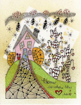 70s Drawing - Home Is Where The Heart Is by Paula Dickerhoff
