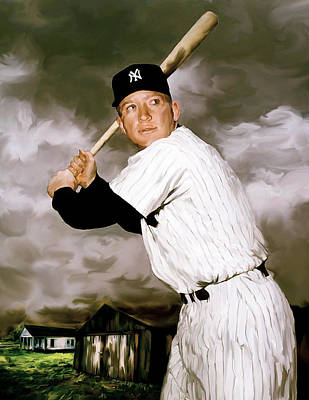 Painting - American Fabric   Mickey Mantle by Iconic Images Art Gallery David Pucciarelli