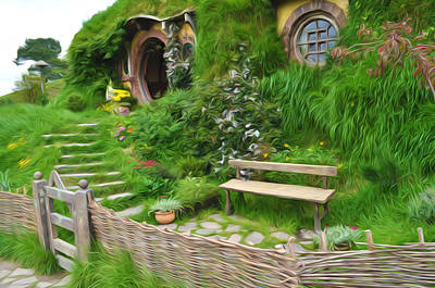 Wooden Stairs Painting - Home Of Hobbiton by Lanjee Chee