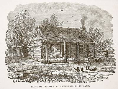 Abraham Lincoln Drawing - Home Of Lincoln At Gentryville by American School