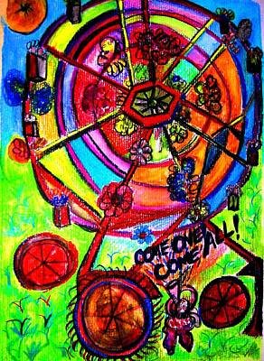 Ferris Wheel Drawing - Home Page Rloliverartist.com  by Ronald Oliver