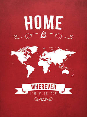 World Map Art Drawing - Home - Red by Aged Pixel