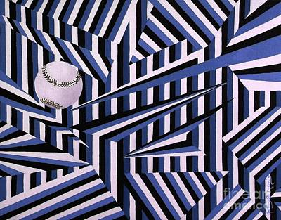 Abstract Baseball Painting - Home Run In Blue by Anthony Morris