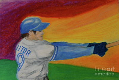Action Sports Art Drawing - Home Run Swing Baseball Batter by First Star Art