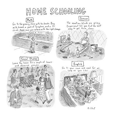 Park Benches Drawing - 'home Schooling' by Roz Chast