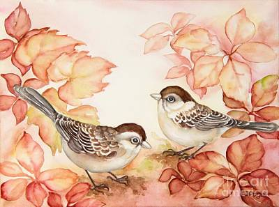 Painting - Home Sparrows by Inese Poga