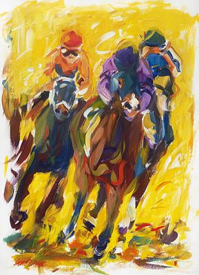 Kentucky Derby Painting - Home Stretch #2 by Lisa Palombo