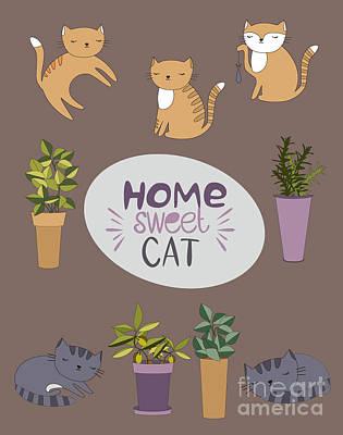 Cute Cat Wall Art - Digital Art - Home Sweet Cat by Mio Buono