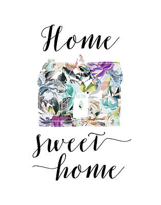 Family Love Painting - Home Sweet Home Floral by Tara Moss