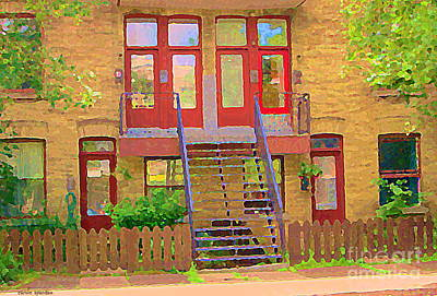 Montreal Art Verdun Street Scenes Painting - Home Sweet Home Red Wooden Doors The Walk Up Where We Grew Up Montreal Memories Carole Spandau by Carole Spandau