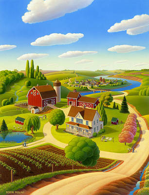 Farm Scene Painting - Home To Harmony by Robin Moline