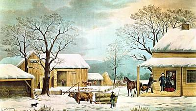Home To Thanksgiving Art Print by Currier and Ives