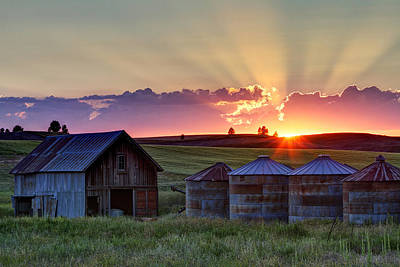 Silos Photograph - Home Town Sunset by Mark Kiver