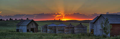 Home Town Sunset Panorama Art Print by Mark Kiver