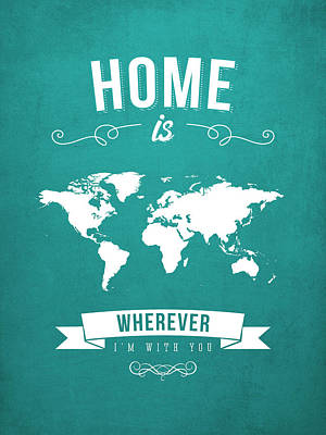 Home - Turquoise Art Print by Aged Pixel