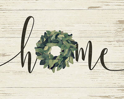 Wreath Painting - Home Wreath by Jo Moulton