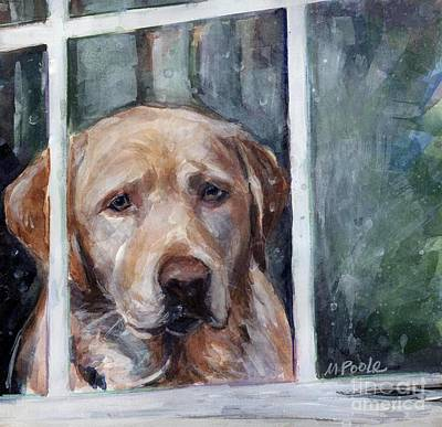 Dog In Snow Painting - Homebody by Molly Poole
