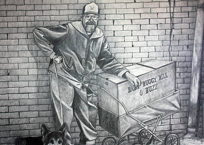Homeless Pets Drawing - Homeless Bill by Dennis Nadeau