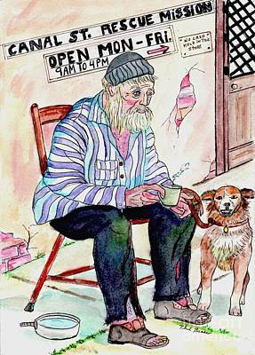 Mixed Media - Homeless Man At Mission by Philip Bracco