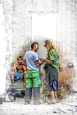 Asheville Mixed Media - Homeless With A Cell Phone by John Haldane