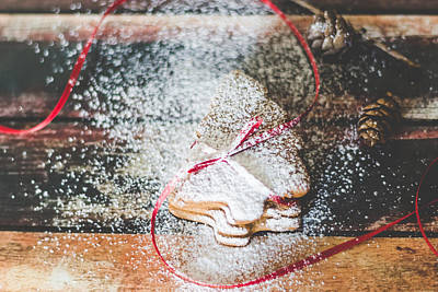Photograph - Homemade Christmas Cookies Sprinkled With Powdered Sugar by Aldona Pivoriene