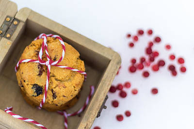 Photograph - Homemade Cranberry Cookies With Christmas Decoration by Aldona Pivoriene