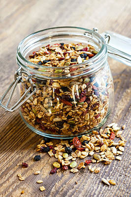 Almond Photograph - Homemade Granola In Glass Jar by Elena Elisseeva