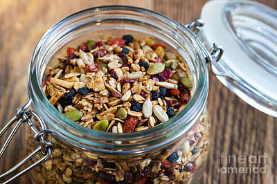 Almond Photograph - Homemade Granola In Open Jar by Elena Elisseeva