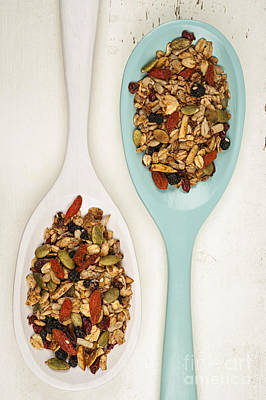 Homemade Granola In Spoons Art Print by Elena Elisseeva