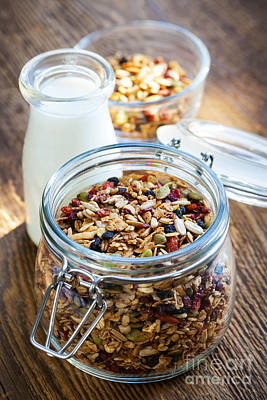 Food And Beverage Royalty-Free and Rights-Managed Images - Homemade toasted granola by Elena Elisseeva